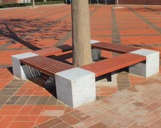 塑木树围椅